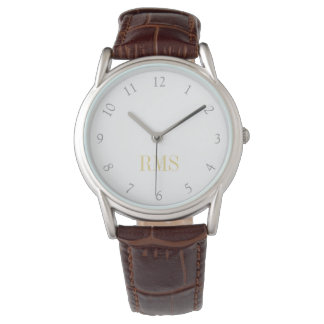 Mens Classic Brown Leather Strap Monogrammed Watch