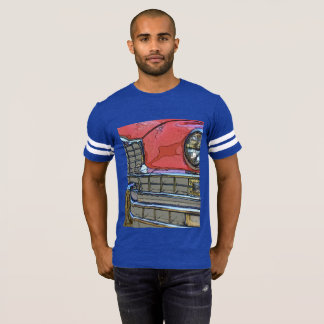 Men's classic car grille as art football t-shirt