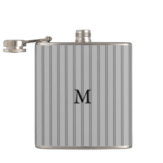 Men's Classic Gray Pinstripe Optional  Monogram Hip Flask