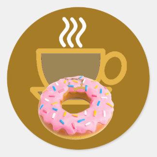 Men's Coffee & Doughnut Round Sticker
