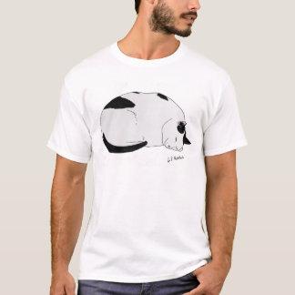 Mens Cotton T-Shirt Sleepy Cat Illustration