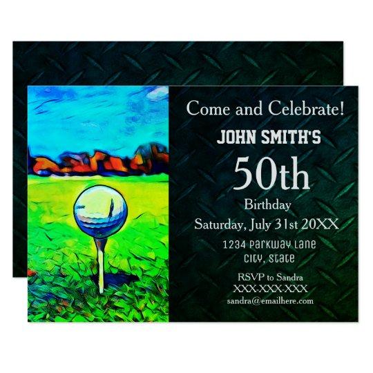 Men's Custom Golfing Birthday Invitations