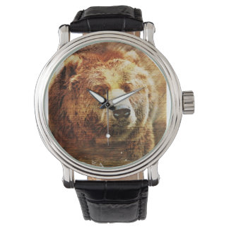 Men's Custom Watch with Grizzly Bear Illustration