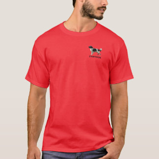 Men's dark colored tee shirt with Stabyhoun