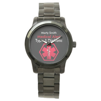 Mens Diabetes Medical Alert Type 1 or 2 Oversized Watch