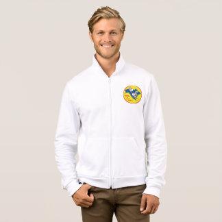 Mens dual logo zipper fleece jacket