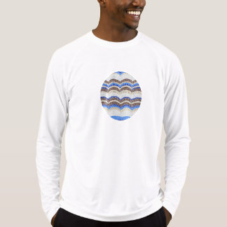 Men's fitted T-shirt with blue mosaic
