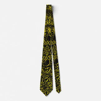 Men's Gold Demon Lotus Satin Power Tie
