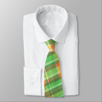 Men's green yellow orange plaid tie