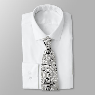Men's Grey Flourish Tie