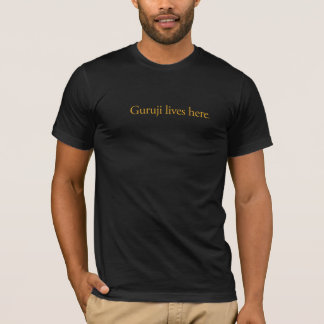 Men's Guruji Lives Here black tee. T-Shirt