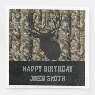 Men's Happy Birthday Camo Deer Hunting Napkins