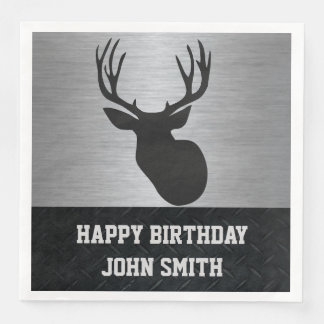 Men's Happy Birthday Deer Hunting Napkins Disposable Napkins