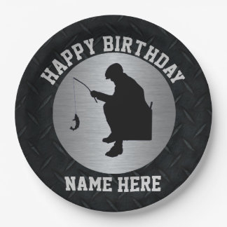 Men's Happy Birthday Ice Fishing Party Paper Plate 9 Inch Paper Plate