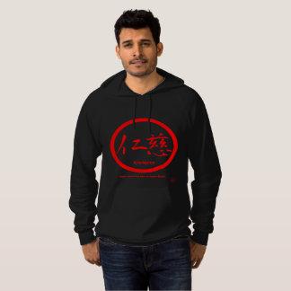 Mens hoodies with red kamon circle and kanji