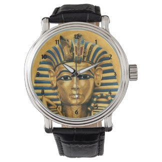 Mens King Tut Egyptian Black Leather Strap Watch