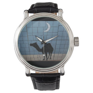 Men's large custom watch with black leather strap