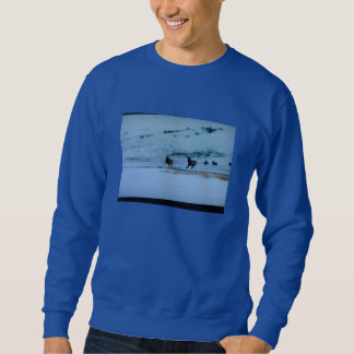 MENS' LONG SLEEVE SWEATSHIRT - DEER RUNNING