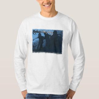 "Mens Long Sleeve White T ""Moshing Blue"" front T-Shirt"