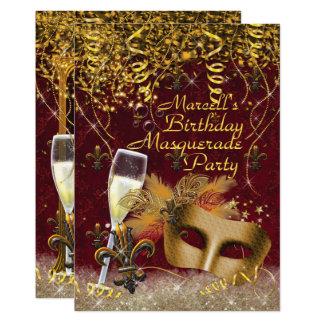 Mens Masquerade Mardi Gras Birthday Party Invite