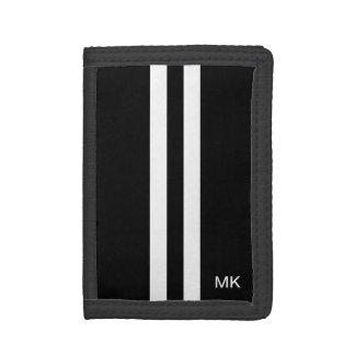 Mens Monogram Black and White Stripes Wallet
