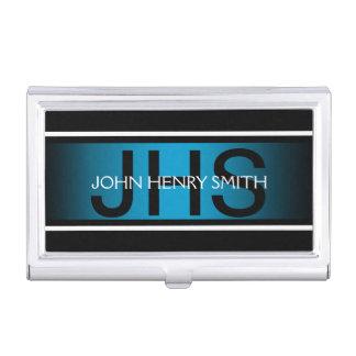 Men's monogram black white blue business card holder