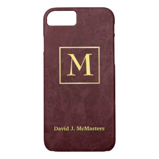 Mens Monogram Burgundy Marble Executive Case