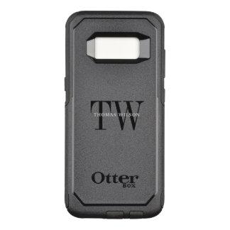 Men's Monogram Modern Minimalist Black & Gray OtterBox Commuter Samsung Galaxy S8 Case