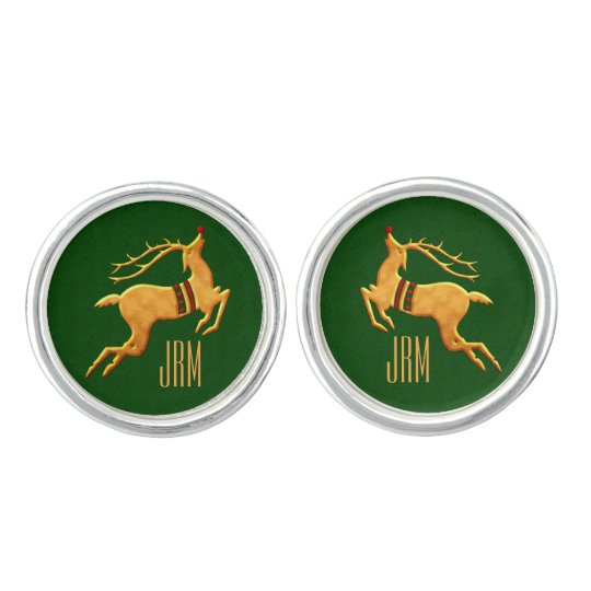 Men's Monogrammed Golden Reindeer Green Cufflinks