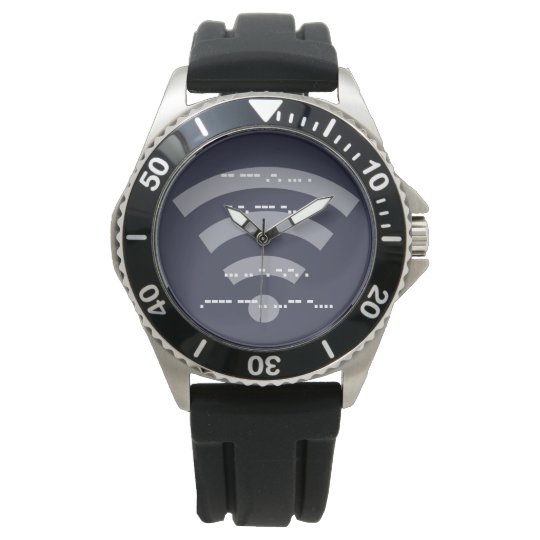 Men's morse code design s/s black rubber watch