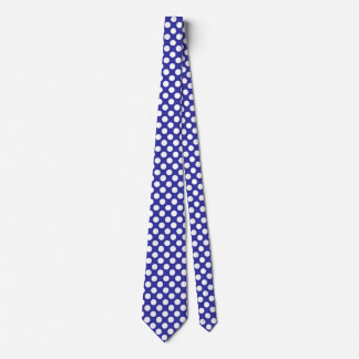 Men's Navy Blue and White Polka Dot Tie