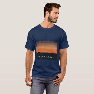 Men's Navy Blue T-shirt with Sunset Scene