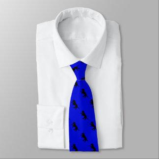 Men's necktie playful black lab pattern in blue