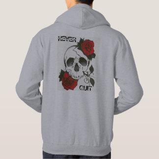 Mens Never Quit Skull & Roses Hoodie