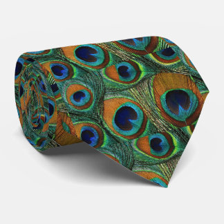 Men's Peacock Feather Tie, Brown Teal Green Purple Tie