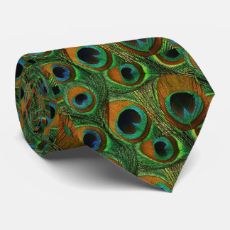 Men's Peacock Feather Tie, Brown Teal Purple Green Tie