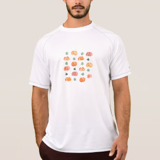 Men's performance T-shirt with pumpkins and leaves