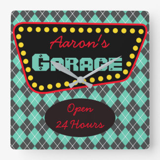 Men's Personalized Garage Car Auto Shop Clock Gift