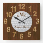 Men's Personalized Golf Clock on Faux Cherry Wood