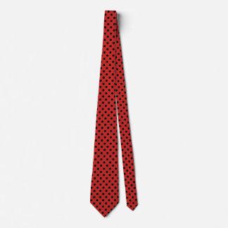 Men's Polka Dot Black and Red Tie