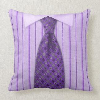 Mens Purple Shirt & Tie Novelty Throw Pillow
