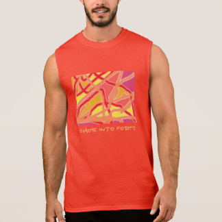 Mens red sleeveless T-shirt Chaos to Form & text