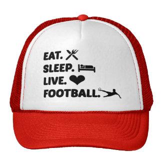 Mens Red Trucker Cap Eat Sleep Football Trucker Hat