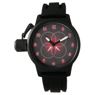 Mens Red White Black Crop Circle Wristwatches