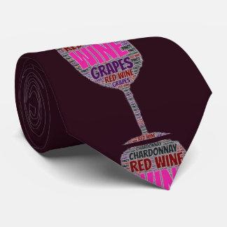 Mens Red White Wine Glass Grape Graphic Purple Tie