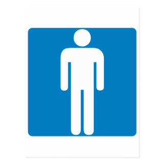 Men's Restroom Highway Sign Postcard