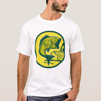 Mens Retro Fisherman Largemouth Bass T-Shirt