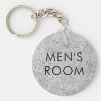 Men's room restroom keychain - urban concrete