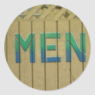 Mens Room Sign in lime green Classic Round Sticker
