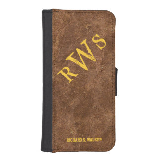 Mens Rustic Country Western Monogram iPhone SE/5/5s Wallet Case